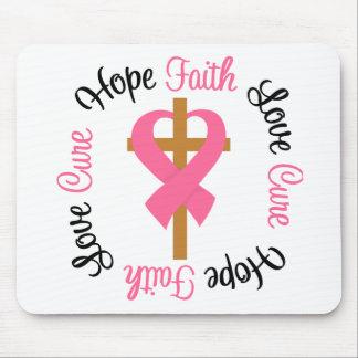 Breast Cancer Faith Hope Love Cross Mouse Pad