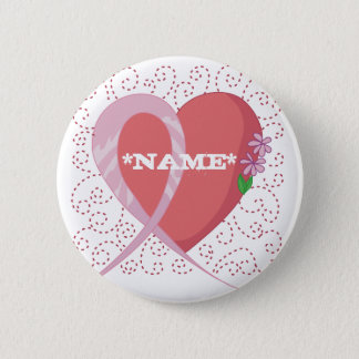 Breast Cancer Heart Customisable Button