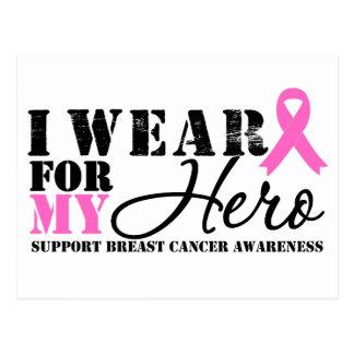 Breast Cancer Hero Pink Ribbon Postcard