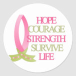 Breast Cancer Hope Courage Strength Round Sticker