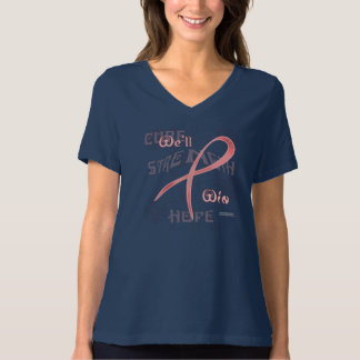 Breast Cancer Hope Ladies Plus Size V-Neck Tee