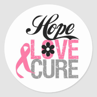 Breast Cancer HOPE LOVE CURE Gifts Round Sticker