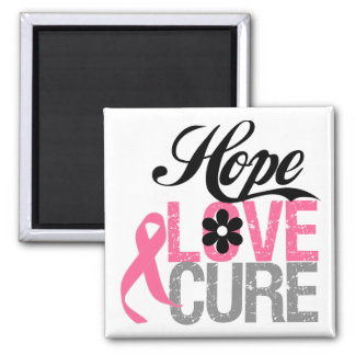 Breast Cancer HOPE LOVE CURE Gifts Square Magnet