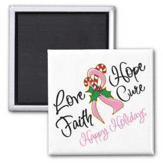 Breast Cancer Hope Love Cure Happy Holidays Fridge Magnets