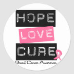 Breast Cancer Hope Love Cure Round Sticker