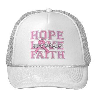 Breast Cancer Hope Love Faith Survivor Cap