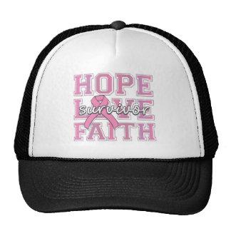 Breast Cancer Hope Love Faith Survivor Trucker Hat