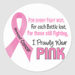 Breast Cancer I Proudly Wear Pink 1 Round Sticker