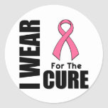 Breast Cancer I Wear Pink For The Cure Round Stickers