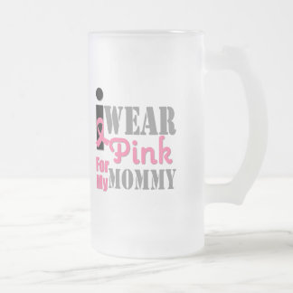 Breast Cancer I Wear Pink Mummy Frosted Glass Mug