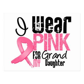 Breast Cancer I Wear Pink Ribbon For Granddaughter Postcard