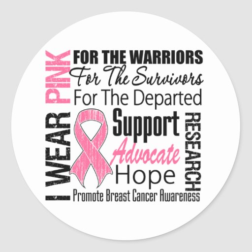 Breast Cancer I Wear Pink Ribbon TRIBUTE Round Sticker