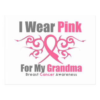 Breast Cancer I Wear Pink Tribal Ribbon (Grandma) Postcards