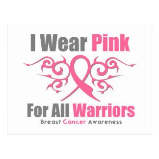 Breast Cancer I Wear Pink Tribal Ribbon (Warriors) Post Card