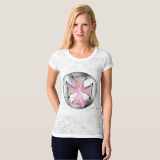 Breast Cancer Iron Cross Ladies Burnout T-Shirt
