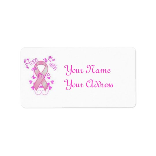 breast cancer label address label