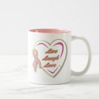 Breast Cancer Mug LiveLaughLove with Pink Ribbon