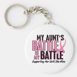 Breast Cancer My BATTLE TOO 1 Aunt Basic Round Button Key Ring