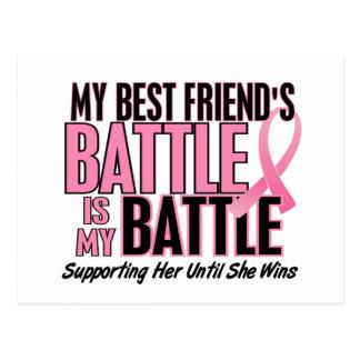 Breast Cancer My BATTLE TOO 1 Best Friend Postcard