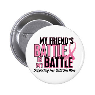 Breast Cancer My BATTLE TOO 1 Friend 6 Cm Round Badge