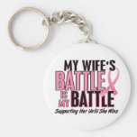 Breast Cancer My BATTLE TOO 1 Wife Basic Round Button Key Ring