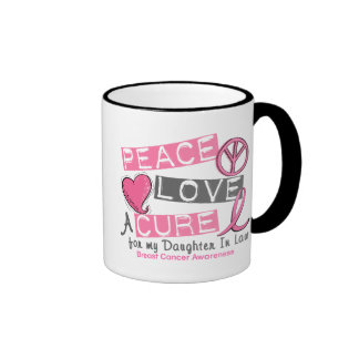 Breast Cancer PEACE, LOVE, A CURE Daughter-In-Law Ringer Mug