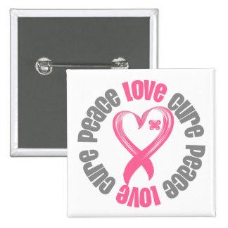 Breast Cancer Peace Love Cure Ribbon 15 Cm Square Badge