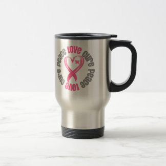 Breast Cancer Peace Love Cure Ribbon Stainless Steel Travel Mug