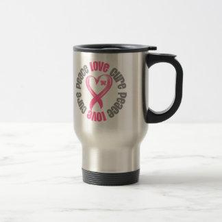 Breast Cancer Peace Love Cure Ribbon Mug