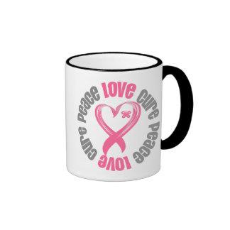 Breast Cancer Peace Love Cure Ribbon Ringer Mug