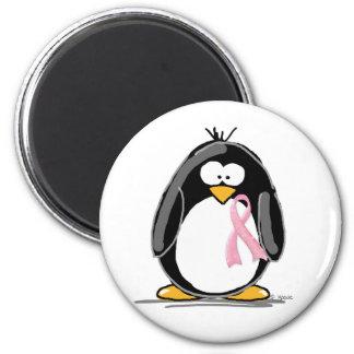 Breast Cancer Penguin 6 Cm Round Magnet