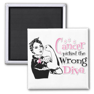 Breast Cancer Picked The Wrong Diva Square Magnet
