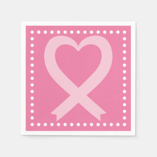 Breast Cancer Pink Heart Ribbon Event Disposable Serviette