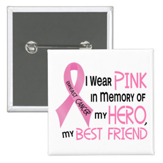 Breast Cancer PINK IN MEMORY OF MY BEST FRIEND 1 15 Cm Square Badge