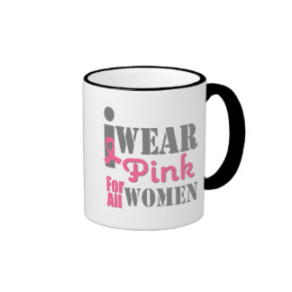 BREAST CANCER PINK RIBBON All Women Ringer Mug