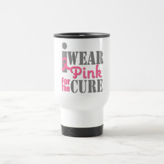 BREAST CANCER PINK RIBBON For The Cure Stainless Steel Travel Mug