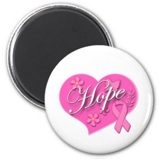 Breast Cancer Pink Ribbon HOPE Heart 6 Cm Round Magnet