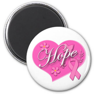 Breast Cancer Pink Ribbon HOPE Heart Magnets
