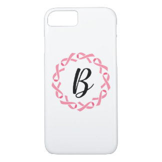Breast Cancer Pink Ribbon Monogram Phone Case