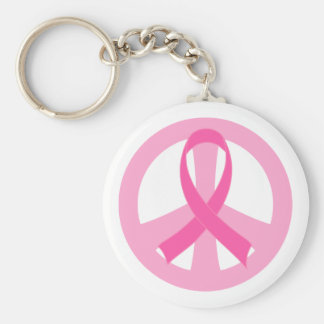 Breast Cancer Pink Ribbon Peace Sign Gift Basic Round Button Key Ring