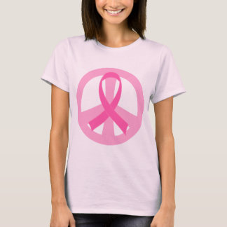 Breast Cancer Pink Ribbon Peace Sign Ladies Tee