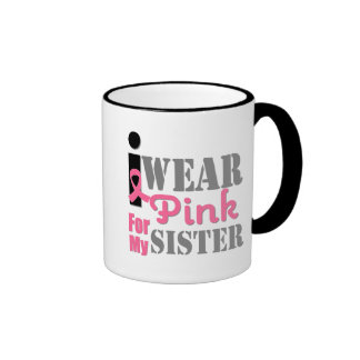 BREAST CANCER PINK RIBBON Sister Coffee Mugs