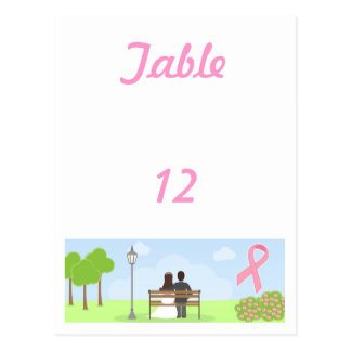 Breast Cancer Pink Ribbon Table Number Card Postcard