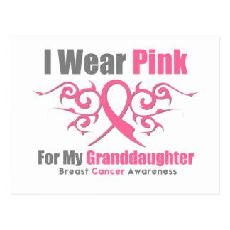 Breast Cancer Pink Tribal Ribbon Granddaughter Postcard