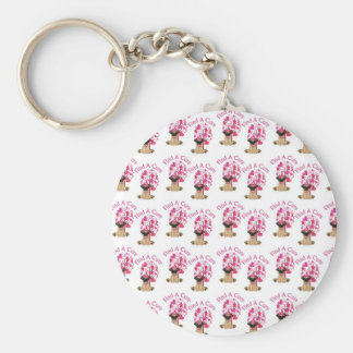 Breast Cancer Pugs Basic Round Button Key Ring