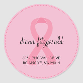 Breast Cancer Ribbon Custom Round Address Label Round Sticker