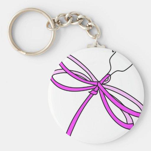 Breast Cancer Ribbon Dragonfly 1 Keychain