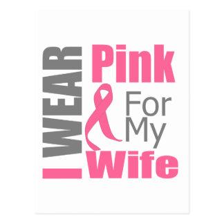 Breast Cancer Ribbon I Wear Pink Wife Postcard