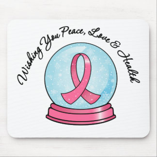 Breast Cancer Ribbon Merry Christmas Snowglobe Mousepad