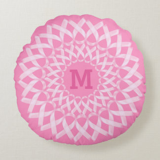 Breast Cancer Ribbon Monogram Round Cushion